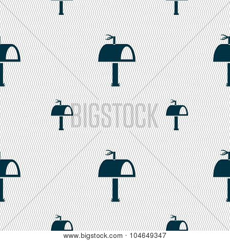 Mailbox Icon Sign. Seamless Pattern With Geometric Texture. Vector