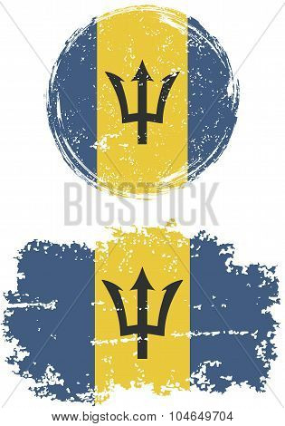 Barbados round and square grunge flags. Vector illustration.