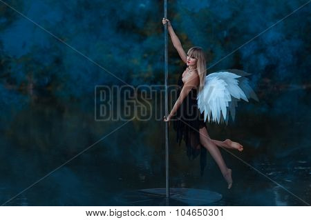 Girl With Angel Wings Circling On A Pole Dance.