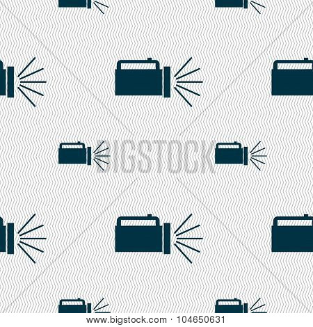 Flashlight Icon Sign. Seamless Pattern With Geometric Texture. Vector