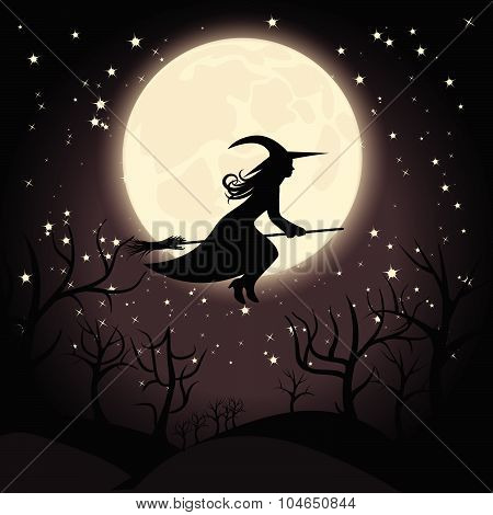 Witch with a broom on background of the full moon