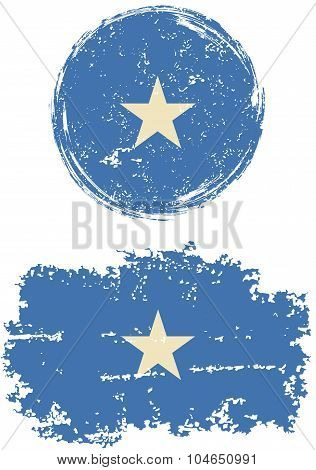 Somalia round and square grunge flags. Vector illustration.