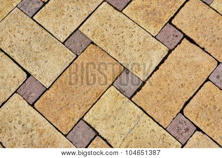 Natural Yellow Limestone Brick Floor With  Herringbone Pattern