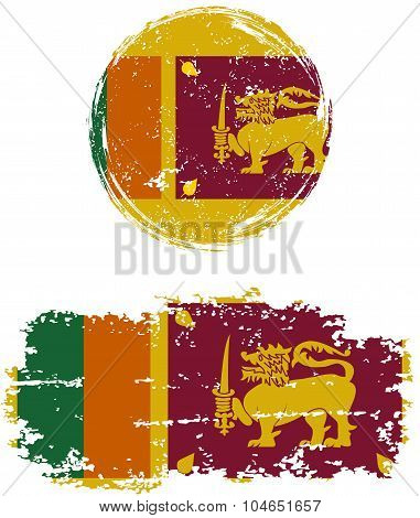 Sri Lanka round and square grunge flags. Vector illustration.