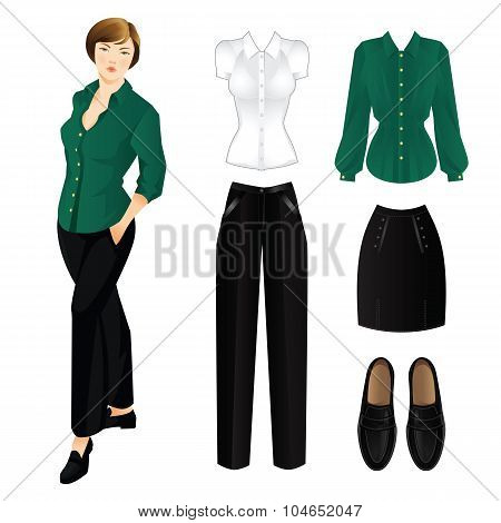 Set of clothes for everyday. Woman in green blouse