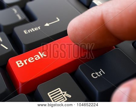 Break Concept. Person Click Keyboard Button.