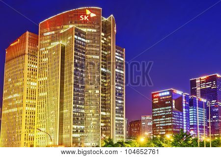 Beijing, China - May 20, 2015:evening, Night Modern Beijing Business Quarter Of The Capital, The Str
