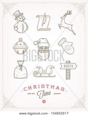 Line art vector illustration - Set of Christmas signs and symbols