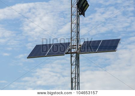Solar Cell Panel On Lamppost