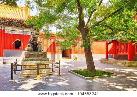 Bronze Lion At The Entrance To Beautiful Yonghegong Lama Temple.beijing.