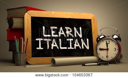 Learn Italian Concept Hand Drawn on Chalkboard.