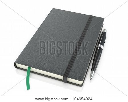 Black Notepad With Black Pen On A White Background.