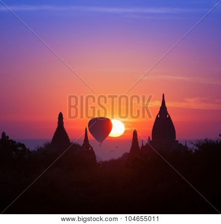 Twilight magical sunset in Bagan Myanmar (Burma). Beautiful photography of famous travel destination