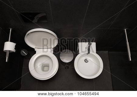 Top View Of Modern Toilet Bowl And Bidet