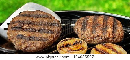 Barbecue Burgers On The Hot Charcoal Grill