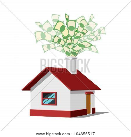 House with money vector illustration