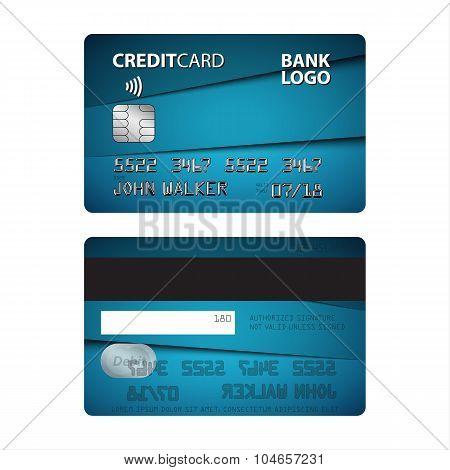 Vector illustration of blue credit card