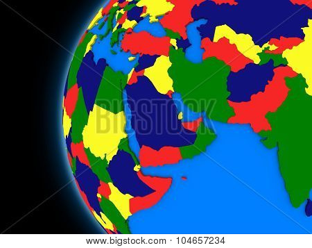 Middle East Region On Political Earth