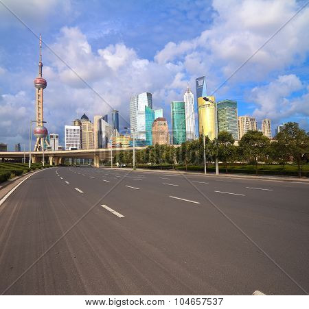 Empty Road With Shanghai Lujiazui City Buildings