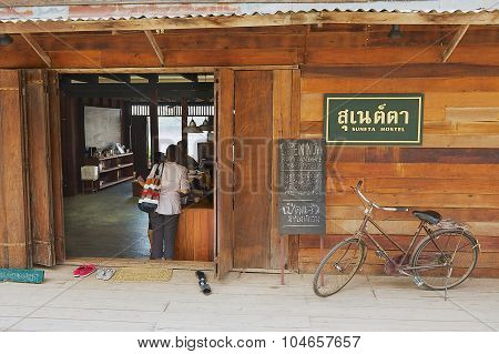 Exterior of the entrance to one of the hostels in Chiang Khan, Thailand.