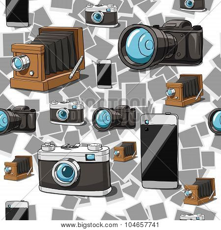Seamless camera vector background