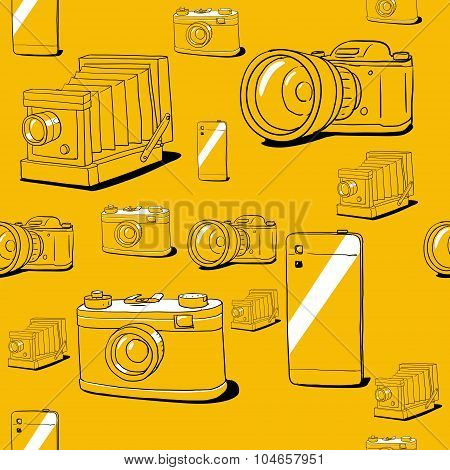 Seamless vector background with cameras