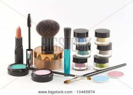 Various make-up cosmetics .