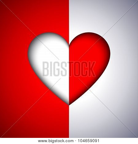 Abstract red and white vector heart