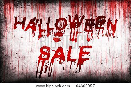 Halloween Sale Painted On Bloody Wall