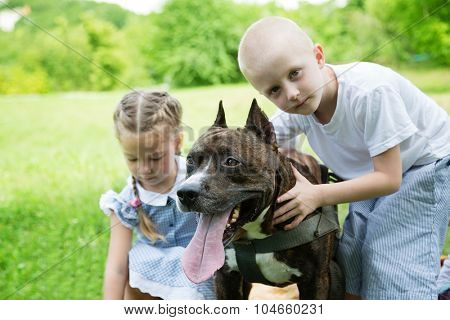 Brother and sister with American Staffordshire Terrier in the park