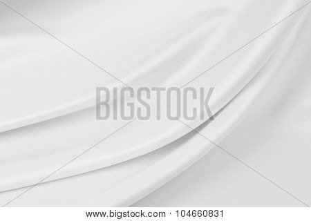 Closeup of rippled white silk fabric