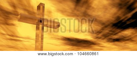 Concept conceptual glass cross or religion symbol silhouette on water landscape over a sunset or sunrise sky with sunlight clouds background banner