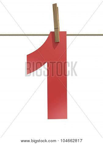 Rope With Clothespin And Number 1
