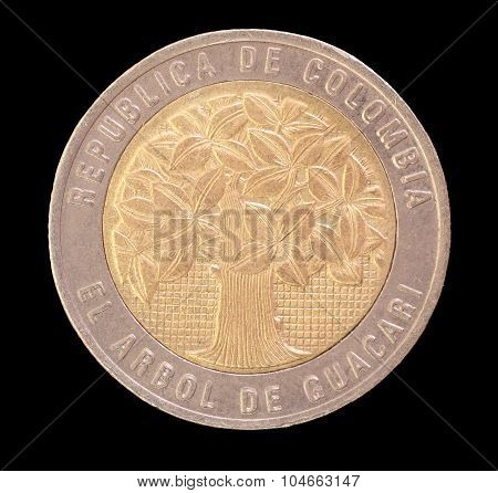 Head Of A 500 Colombian Pesos Coin Depicting The Tree Of Guacari