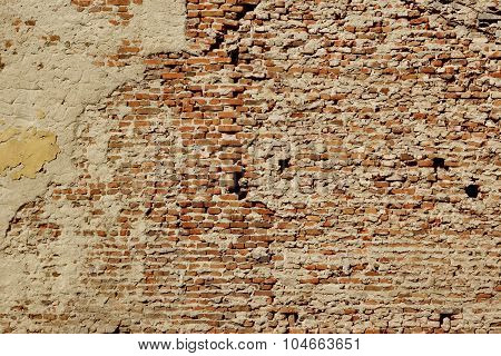 Huge White Red Brick Mortar Wall With Damaged Plaster