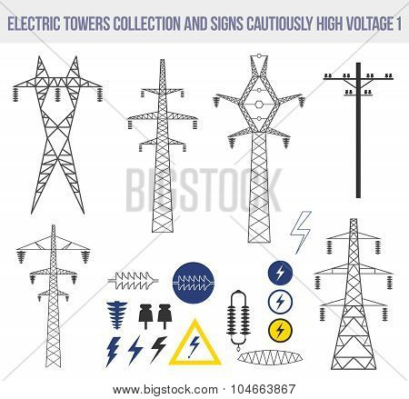 Icons set with electric towers isolated on white background.