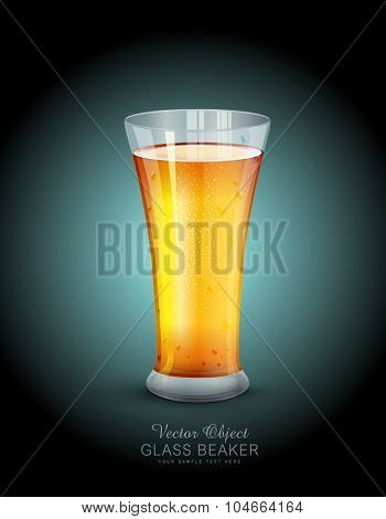 Vector glass with drink on the  dark blue background
