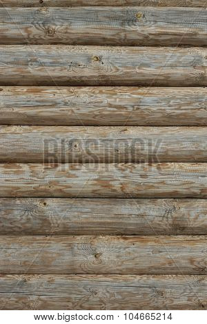 Wooden Log Cabin Old Wall Natural Colored Vertical Background Texture
