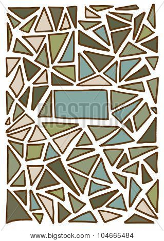 Triangle pattern background. Hand drawn vector illustration with copy space. Graphical and geometric concept with place for text. Pattern for covers, paper, fabric or web