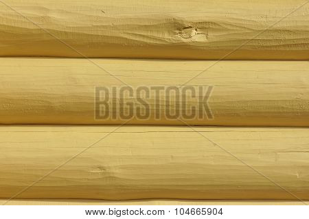 Wooden Log Cabin Yellow Wall Horizontal Background