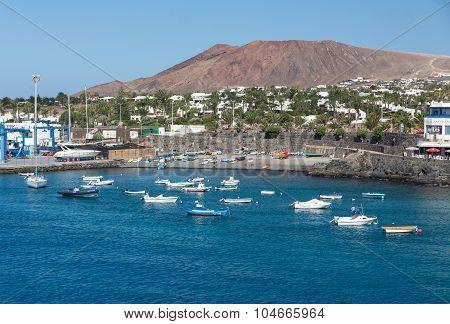 LANZAROTE, SPAIN -  SEPTEMBER 9, 2015: Fishing boats in Puerto del Carmen Canary Island Lanzarote.Spain
