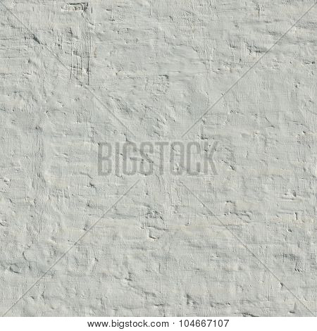 Old Uneven Brick Wall With White Painted Plaster Background