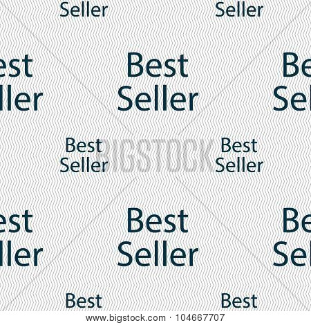 Best Seller Sign Icon. Best-seller Award Symbol. Seamless Pattern With Geometric Texture. Vector