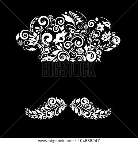 Cook cap and mustache of floral ornament