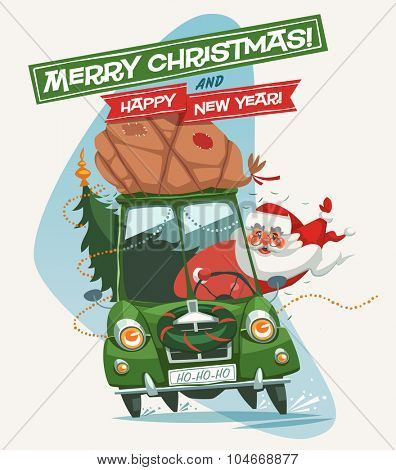 Santa Claus driving an old car. Christmas greeting card \ background \ poster. Vector illustration.