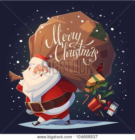 Santa drops gifts. Christmas greeting card \ background \ poster. Vector illustration.