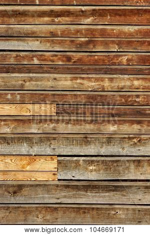 Weathered Old Natural Wood Siding Panel With Hanwritten Vandal Signs