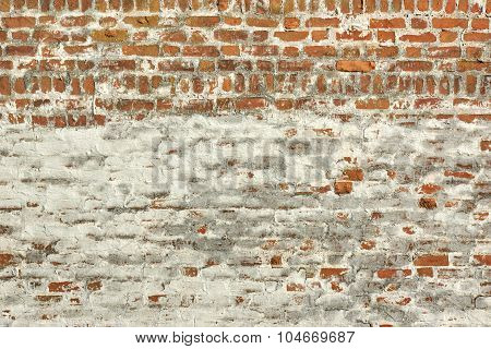 Red White Vintage Brick Painted Wall With Damaged Plaster