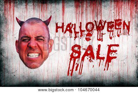 Halloween Sale Sprayed On Wall Next To Devils Head