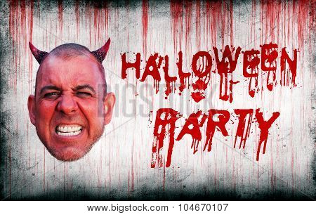 Halloween Party Sprayed On Wall Next To Devils Head